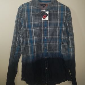 G By Guess Mens Button Down Long Sleeve Plaid